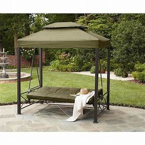 Lawn Swing With Canopy. Outdoor 3 Person Gazebo Swing Lawn ...
