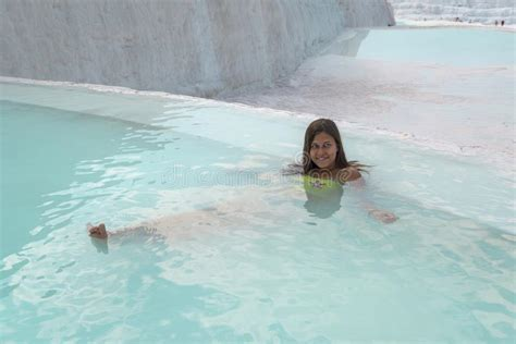 Girl In Pamukkale Natural Pool Stock Photo Image Of Blue