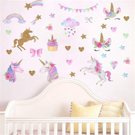 amazoncom  pcs unicorn wall decals romantic unicorn