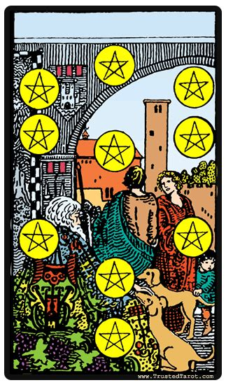 Haven't got time to look up tarot meanings in a book? Ten of Pentacles - daily one card tarot 2019-05-07 | Pentacles tarot, Tarot card meanings, Rider ...