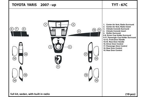 2009 toyota yaris dash kits wood trim