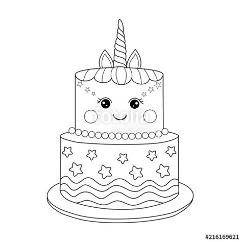 unicorn cake coloring book  adult vector illustration