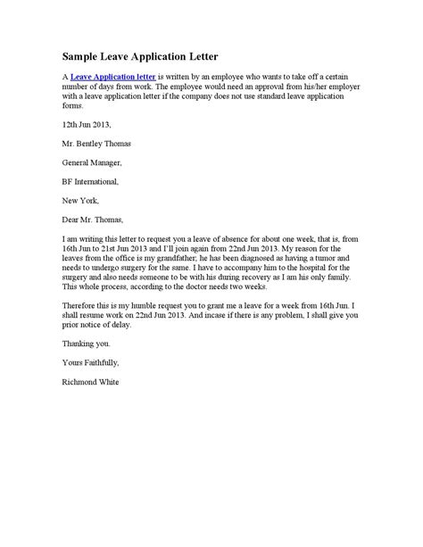 personal leave of absence letter sle leave application letter by stephen wash issuu 8352