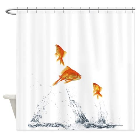 Goldfish Shower Curtain - jumping goldfish shower curtain by petdrawings