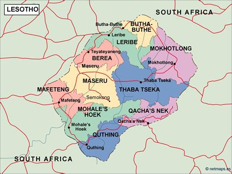 Lesotho Political Map. Vector Eps Maps. Eps Illustrator