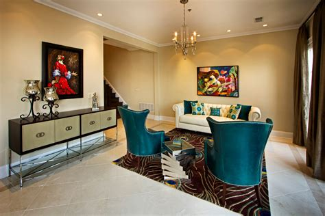 Green Living Room Next by Splashy Peacock Rug In Living Room Contemporary With