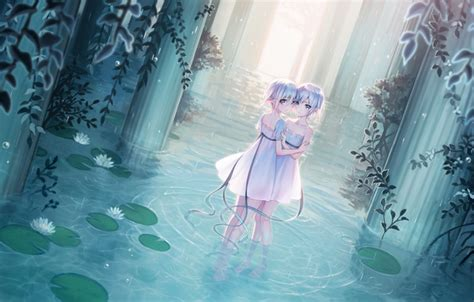 Wallpaper Water, Tape, Girls, Rain, Dress, Ears, Anime
