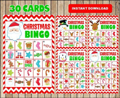 Printable 30 Christmas Bingo Cards Printable Christmas Bingo