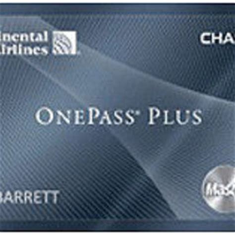 chase continental airlines onepass  mastercard