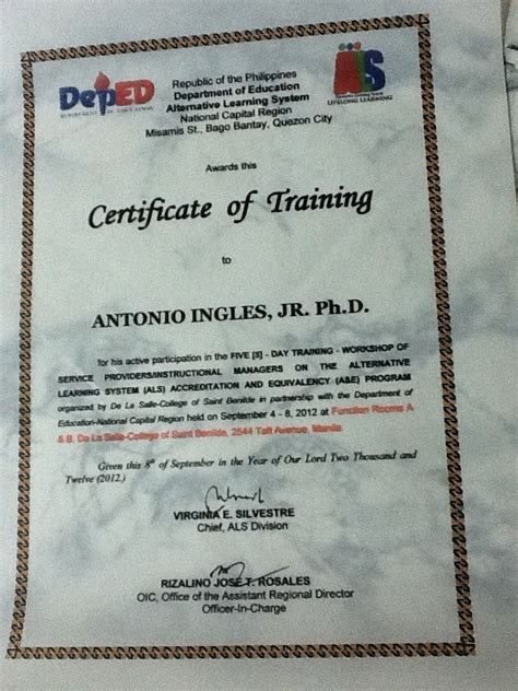bureau of educator certification aral alternative learning system als