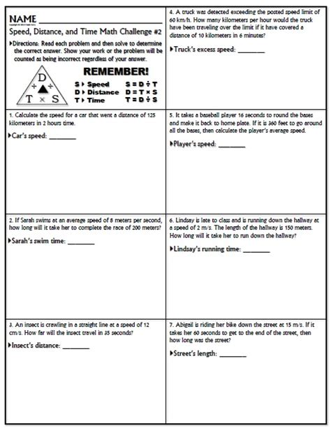 Collection Of Calculate Speed Worksheet  Download Them And Try To Solve