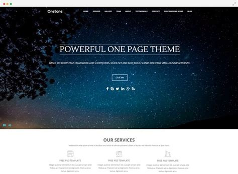 One Page Theme Free One Page Theme For Web Design Onetone