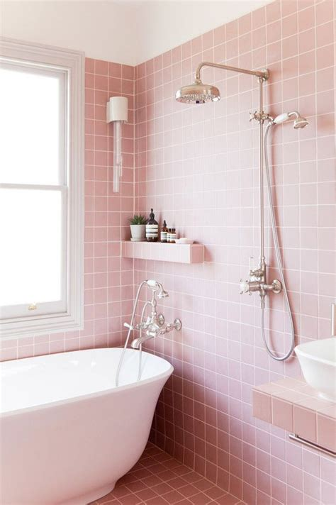 Modern Pink Tile Bathroom 25 ways to incorporate pink into bathroom decor digsdigs