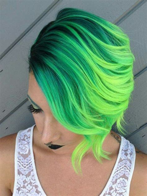 Wow That Color ♡ Neon Grunge Slime Lime Green Hair Dye On