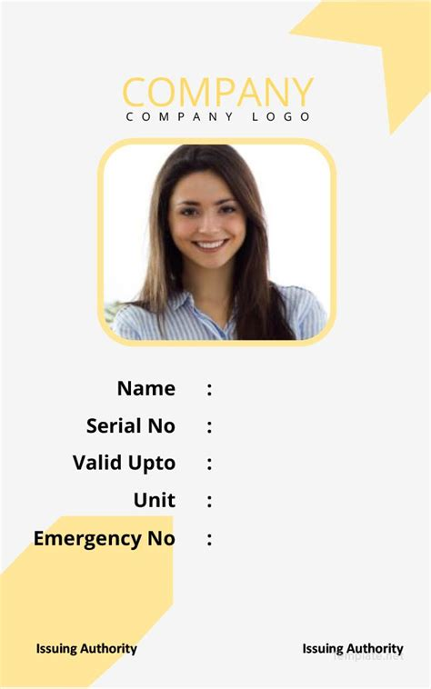 simple blank id card template id card template