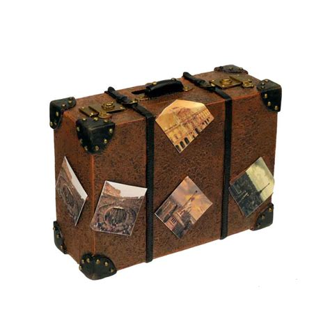 5 World Traveler Mini Vintage Style Resin Suitcase