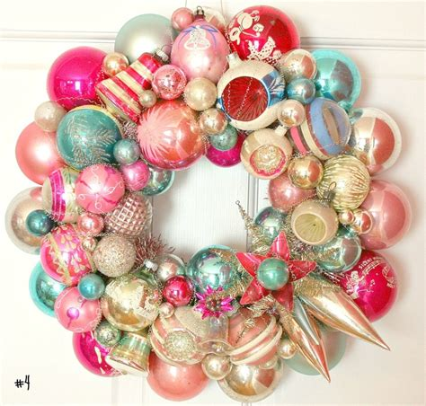 holiday wreath with vintage ornaments holiday crafts