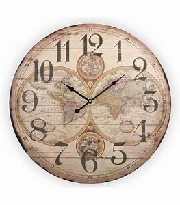 Grande Horloge Murale Originale : grande horloge murale style ancien en bois maps ~ Teatrodelosmanantiales.com Idées de Décoration