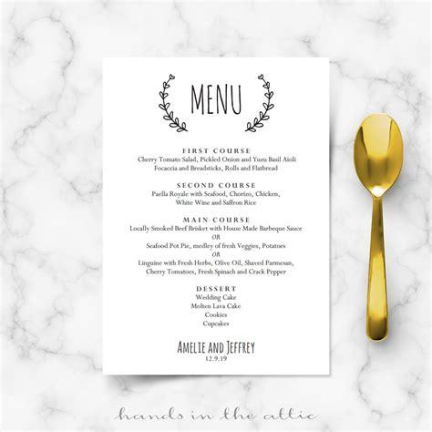 laurel wreath wedding brunch menu template wedding menu