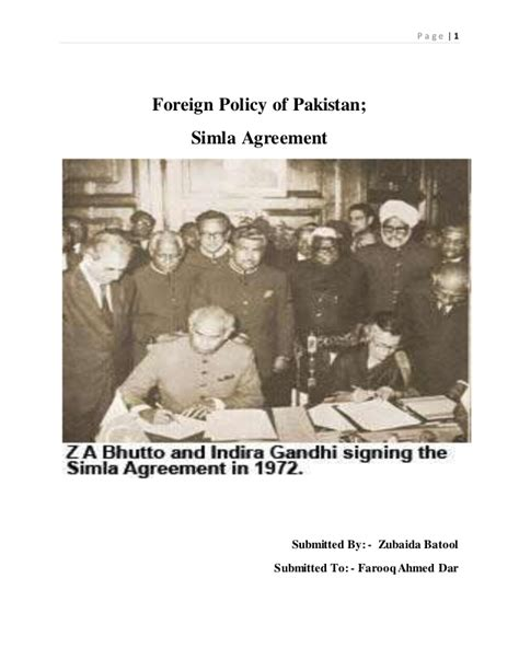 foreign policy  pakistan  simla agreement