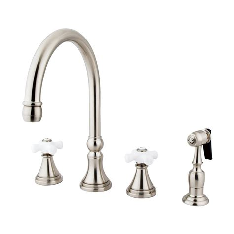 satin nickel kitchen faucet shop elements of design satin nickel 2 handle high arc kitchen faucet at lowes com