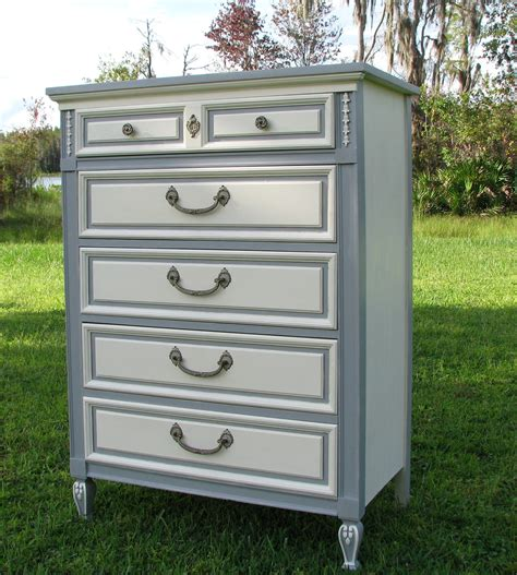 brave two tone grey and white painted chest of drawer