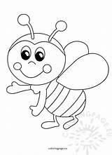 Bee Funny Cartoon Bees Coloring Printable Honey Happy Coloringpage sketch template