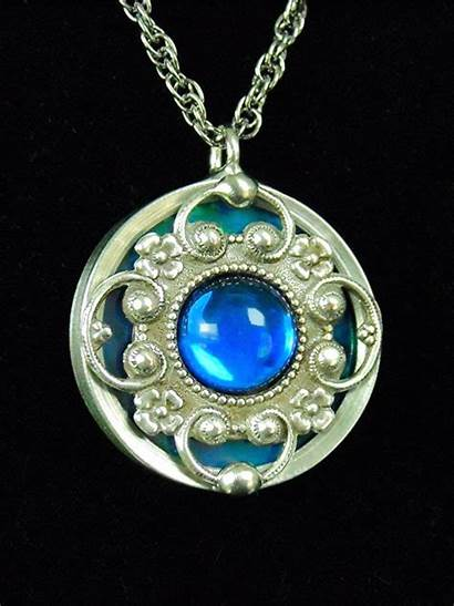 Glass Pendant Necklace Stained Medallion Victorian Designs