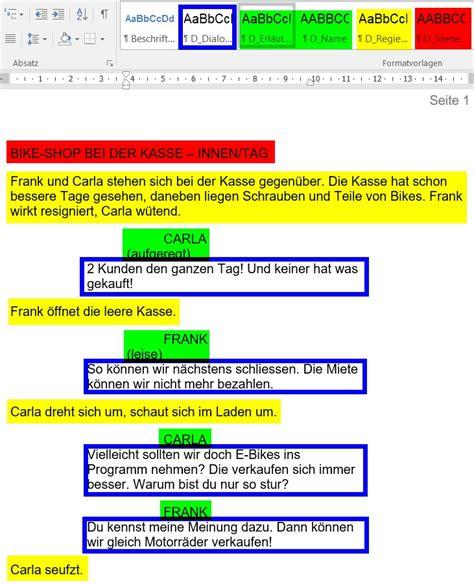 drehbuch vorlage fuer word