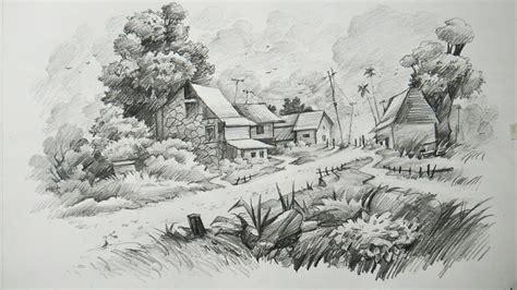 draw  landscape  pencil art youtube