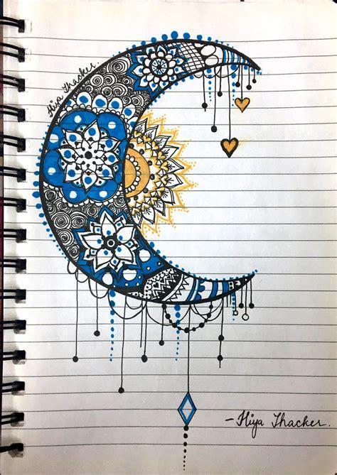 Moon sun mandala zentangle | Sun and moon drawings, Moon ...