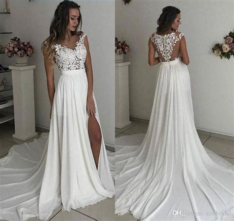 Discount Ivory Chiffon Cheap Lace Wedding Dresses Summer