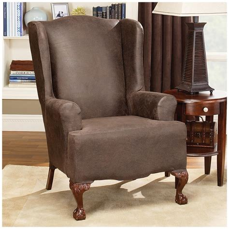 Wing Chairs Slipcovers by Sure Fit 174 Stretch Leather Wing Chair Slipcover 581253
