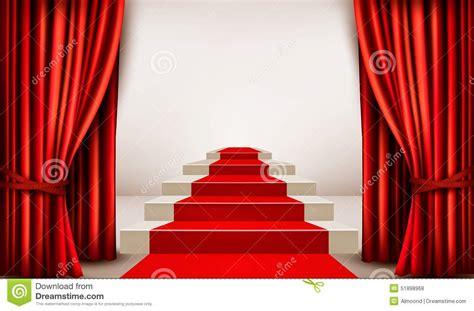 showroom  red carpet leading   podium  curtains