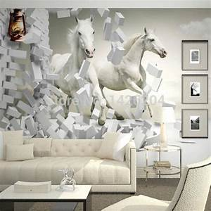 Wholesale 3d White Horse Wall Murals Wallpaper,3d Horse