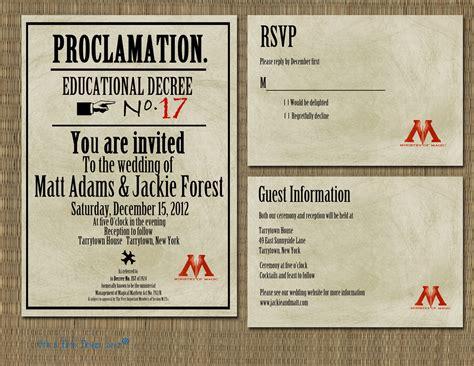 printable harry potter proclamation wedding invitation
