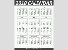 2018 Yearly Calendar Large Printable 2018 Calendar