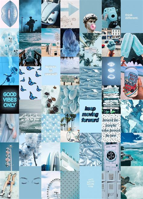blues wall collage kit blue aesthetic collage kit