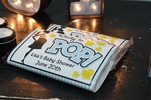 Ready to pop blue baby shower favor table candles and favors for Ready to pop popcorn labels