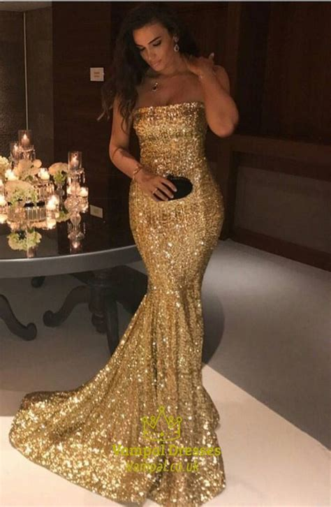 sparkly gold sequin strapless floor length mermaid prom