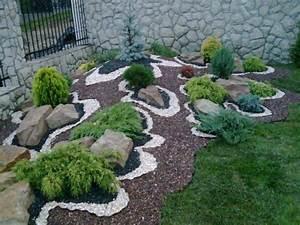 Steingarten Bilder Beispiele : steingarten kriechender wacholder kies verschiedene farben muster gartengestaltung pinterest ~ Watch28wear.com Haus und Dekorationen