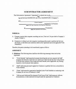 need a subcontractor agreement 39 free templates here With contract for subcontractors template