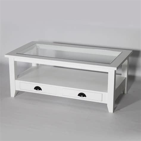 plateau verre bureau table basse bois massif blanche avec plateau en verre