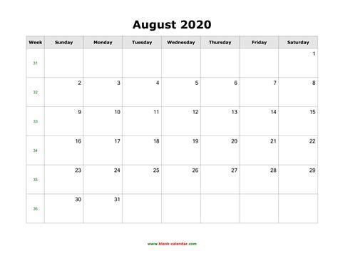 august blank calendar calendar templates