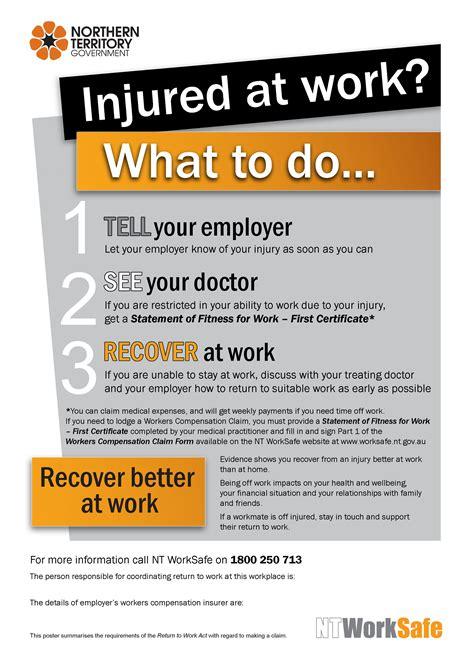 injured  work poster nt worksafe