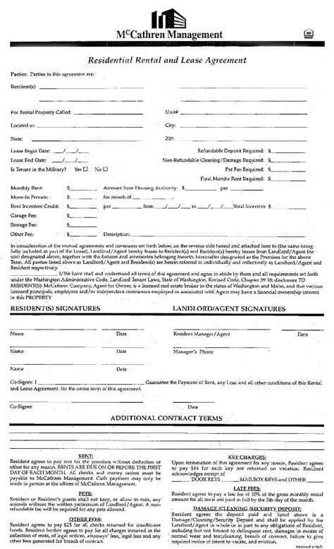 Rent Lease Agreement | Real Estate Forms