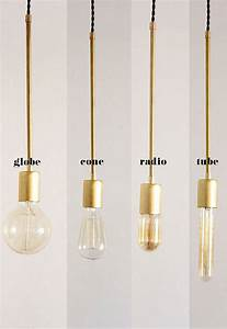 Brass hanging light vintage modern industrial pendant