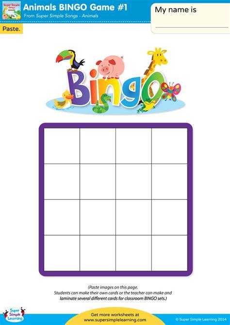 animal bingo game  super simple
