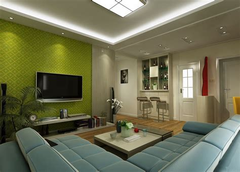 luxurious green tv wall  living room  green wall