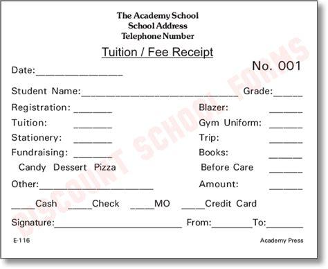 fee receipt format tuition fee receipt school forms